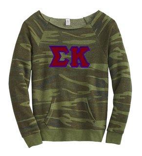 DISCOUNT-Sigma Kappa Maniac Camo Fleece Sweatshirt
