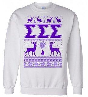 Sigma Sigma Sigma Ugly Christmas Sweater Crewneck Sweatshirt