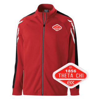 DISCOUNT-Theta Chi Woven Emblem Greek Flux Track Jacket