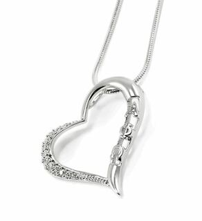 Alpha Phi Omega Sterling Silver Heart Pendant with lab created diamonds