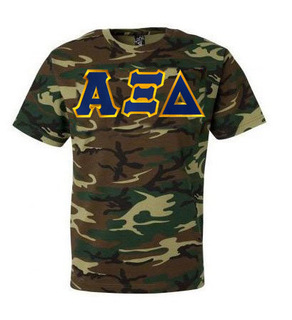 DISCOUNT-Alpha Xi Delta Lettered Camouflage T-Shirt