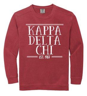 Kappa Delta Chi Comfort Colors Custom Crewneck Sweatshirt