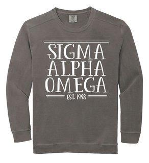 Sigma Alpha Omega Comfort Colors Custom Crewneck Sweatshirt