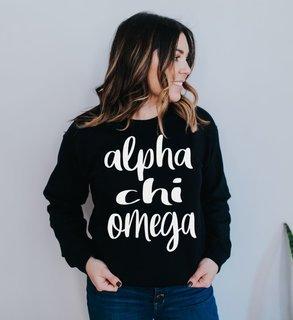 Alpha Chi Omega Script Crew Sweatshirt