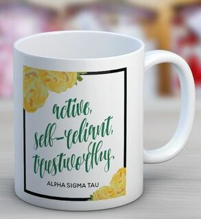 Alpha Sigma Tau Floral Motto Coffee Mug