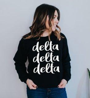 Delta Delta Delta Script Crew Sweatshirt