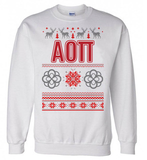 Alpha Omicron Pi Ugly Christmas Sweater Crewneck Sweatshirt