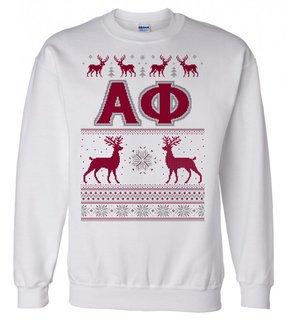 Alpha Phi Ugly Christmas Sweater Crewneck Sweatshirt