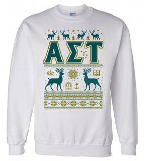 Alpha Sigma Tau Ugly Christmas Sweater Crewneck Sweatshirt