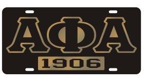 Alpha Phi Alpha License Plate - Black, Founded