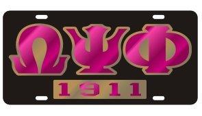 Omega Psi Phi License Plate - Black, Founded