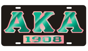 Alpha Kappa Alpha License Plate - Black, Founded
