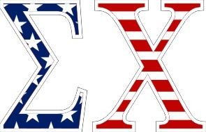 "Sigma Chi American Flag Greek Letter Sticker - 2.5"" Tall"