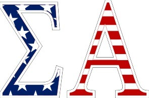 "Sigma Alpha American Flag Greek Letter Sticker - 2.5"" Tall"