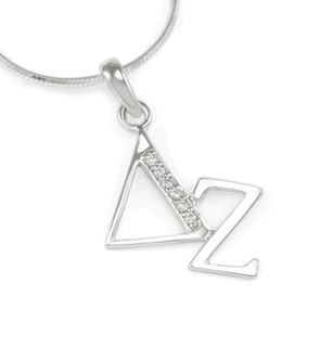 Delta Zeta Sterling Silver Diagonal Lavaliere set with Lab-Created Diamonds