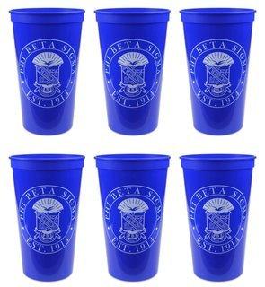 Phi Beta Sigma Set of 6 Big Plastic Stadium Cups