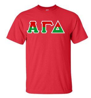 Alpha Gamma Delta Two Tone Greek Lettered T-Shirt
