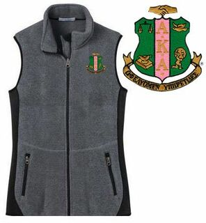 Alpha Kappa Alpha Crest Patch Ladies Pro Fleece Full-Zip Vest
