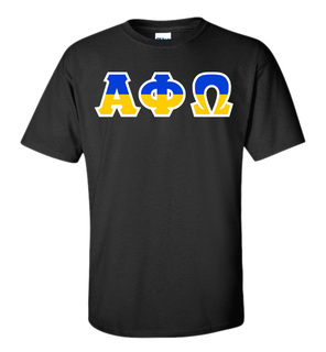 Alpha Phi Omega Two Tone Greek Lettered T-Shirt