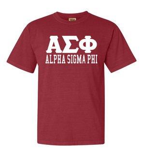 Alpha Sigma Phi Greek Custom Comfort Colors Heavyweight T-Shirt