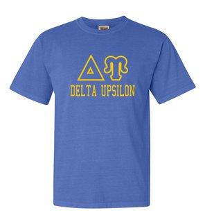 Delta Upsilon Greek Outline Comfort Colors Heavyweight T-Shirt