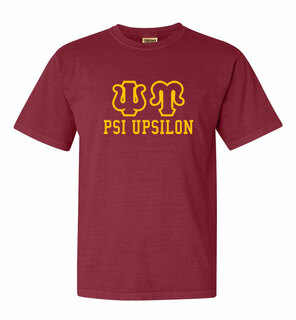 Psi Upsilon Greek Outline Comfort Colors Heavyweight T-Shirt