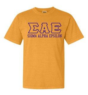 Sigma Alpha Epsilon Greek Outline Comfort Colors Heavyweight T-Shirt