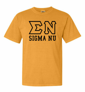 Sigma Nu Greek Outline Comfort Colors Heavyweight T-Shirt