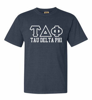 Tau Delta Phi Greek Outline Comfort Colors Heavyweight T-Shirt