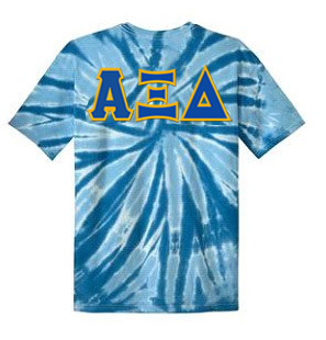 DISCOUNT-Alpha Xi Delta Lettered Tie-Dye t-shirts for only $25!