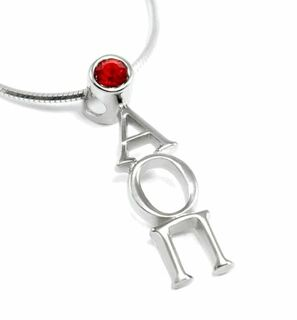Alpha Omicron Pi Sterling Silver Lavaliere Pendant with Swarovski Red Crystal