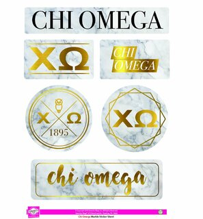 Chi Omega Marble Sticker Sheet