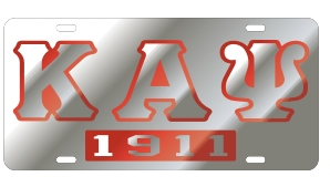 Kappa Alpha Psi License Plate - Silver, Founded