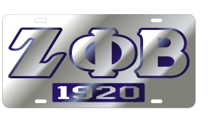 Zeta Phi Beta License Plate - Silver, Founded