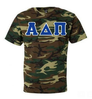 DISCOUNT-Alpha Delta Pi Lettered Camouflage T-Shirt