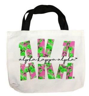 Alpha Kappa Alpha Giant Floral Tote Bag