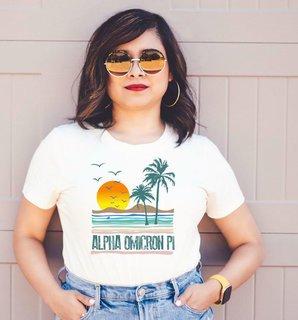 Alpha Omicron Pi Beaches Tee - Comfort Colors