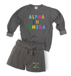Alpha Chi Omega Comfort Colors Crew and Short Set