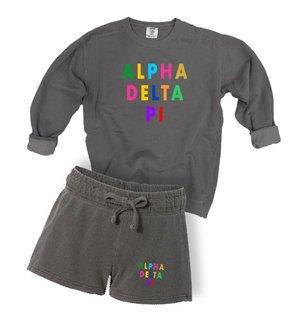 Alpha Delta Pi Comfort Colors Crew and Short Set