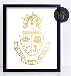 Alpha Sigma Tau Crest - Shield Foil Print