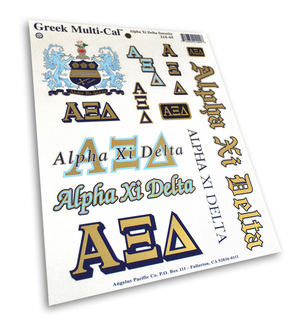 Alpha Xi Delta Multi Decal Sheet