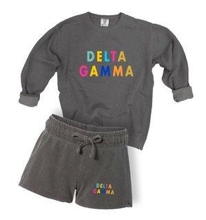 Delta Gamma Comfort Colors Crew and Short Set