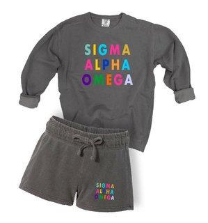 Sigma Alpha Omega Comfort Colors Crew and Short Set