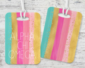 Alpha Chi Omega Bright Stripes Luggage Tag
