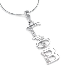 Gamma Phi Beta Sterling Silver Lavaliere set with Lab-Created Diamonds