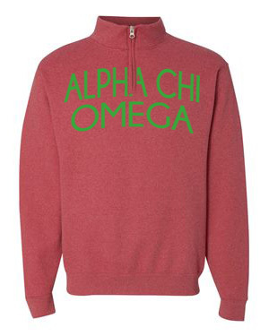 Alpha Chi Omega Over Zipper Quarter Zipper Sweatshirt