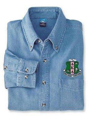 DISCOUNT-Alpha Kappa Alpha Denim Shirt - Shield
