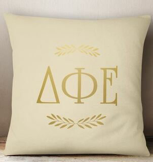 Delta Phi Epsilon Foil Letters Pillow