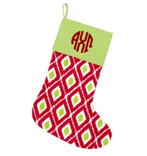 Sorority Circle Monogram Ikat Christmas Stocking