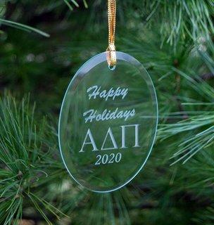 Alpha Delta Pi Holiday Glass Oval Ornaments